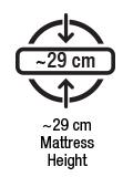 Approx 29 cm mattress height